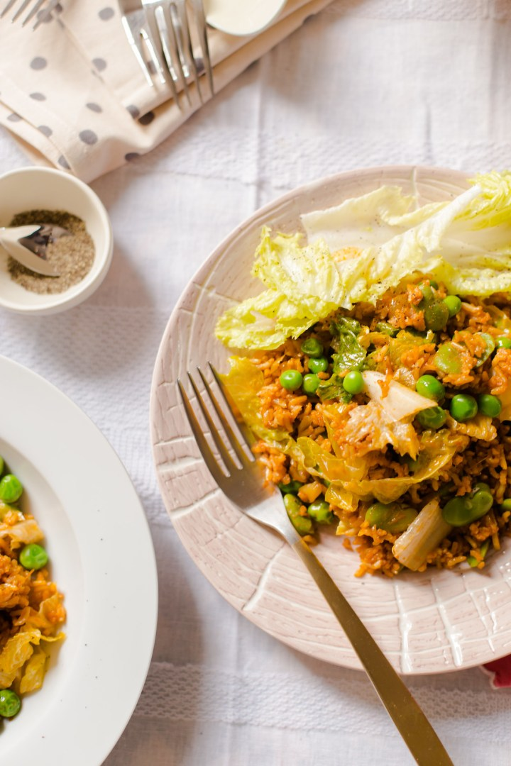 Rice, Hummus, Peas and Lettuce