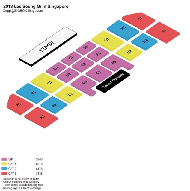 Lee Seung Gi in Singapore 2018 Seating Plan