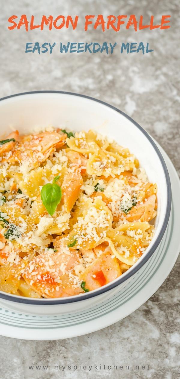 Salmon farfalle pasta in a creamy tomato sauce