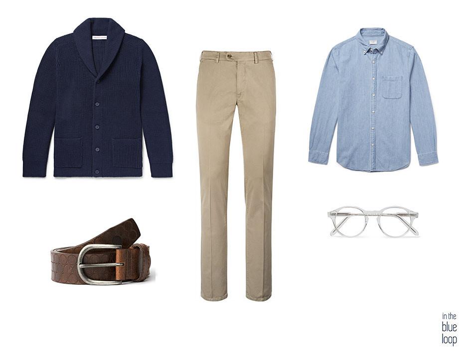 3 looks para llevar un cárdigan masculino con chinos, cinturón nublo para hombre, camisa azul y cardigan