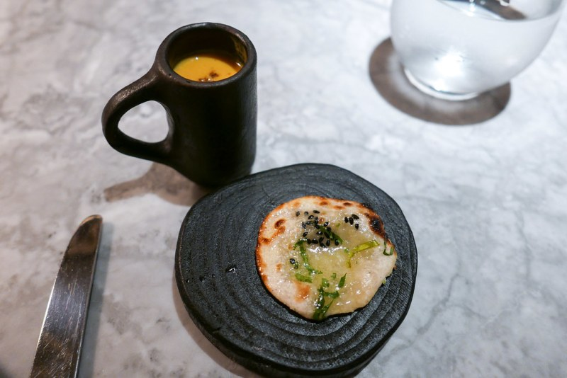 A bite-sized naan had the unexpected, but pleasant addition of blue cheese. On the side, the pumpkin shorba (soup) was bursting with flavor and served in the cutest and tiniest mug ever. Pinkies up!  Pumpkin, Coconut Shorba and Blue Cheese Naan