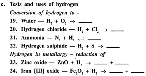 New Simplified Chemistry Class 9 ICSE Solutions - Study of The First Element - Hydrogen 3.1