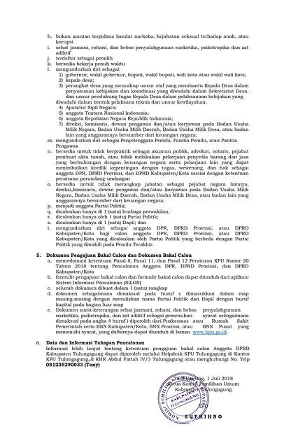PENGUMUMAN: PENGAJUAN BAKAL CALON ANGGOTA DPRD KAB.TULUNGAGUNG DALAM PEMILU 2019 (002)