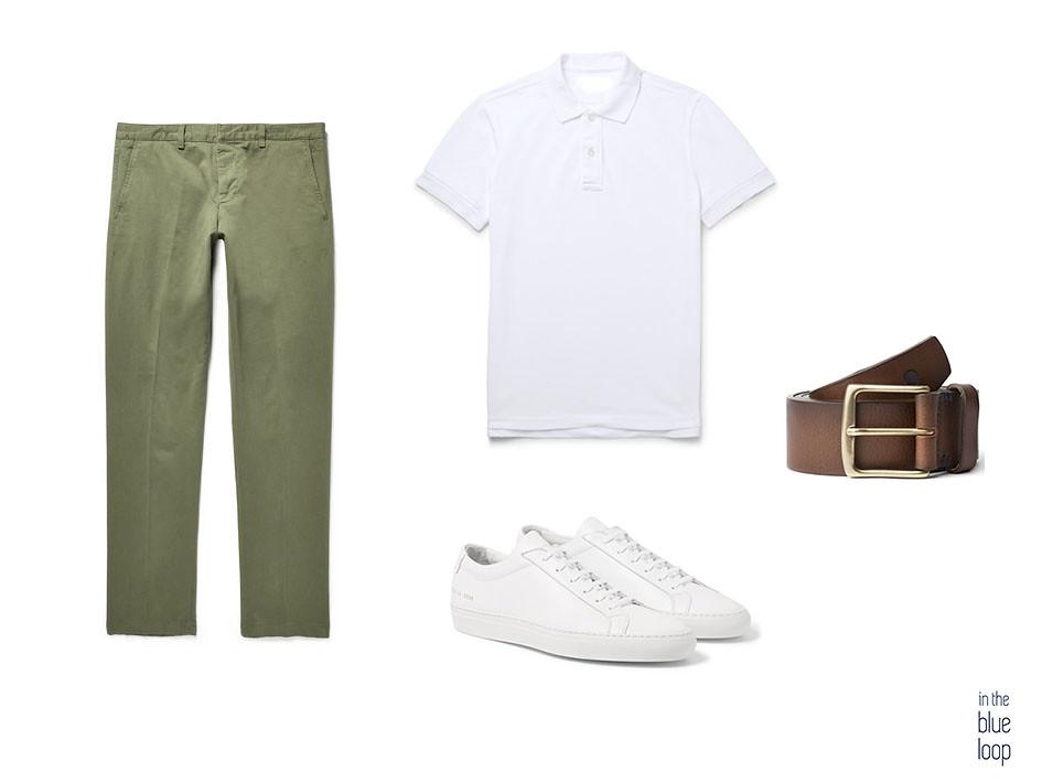 Pantalones de verano Look casual con chinos, polo blanco masculino, sneakers blancas y cinturón de cuero marrón Garoé de blue hole men