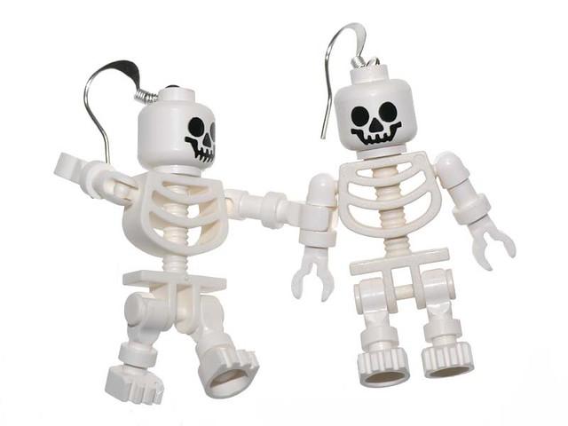 Lego skeleton earrings