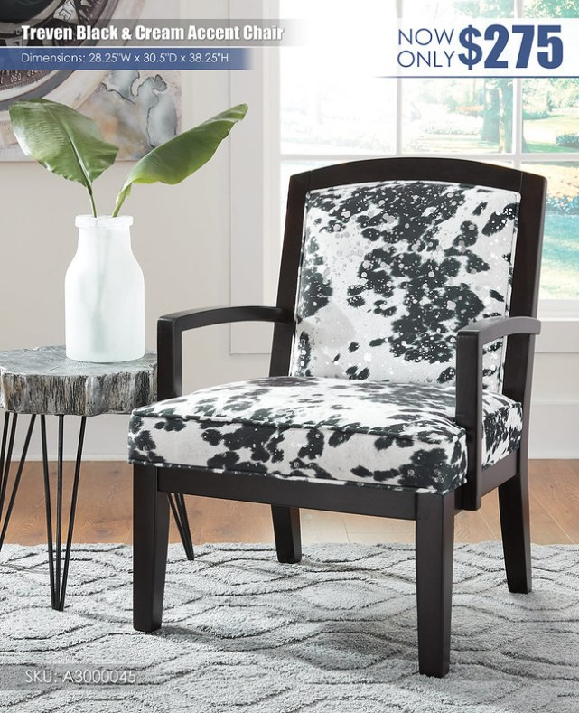 Treven Black & Cream Accent Chair_A3000096