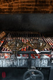 Turbot on the grill.
