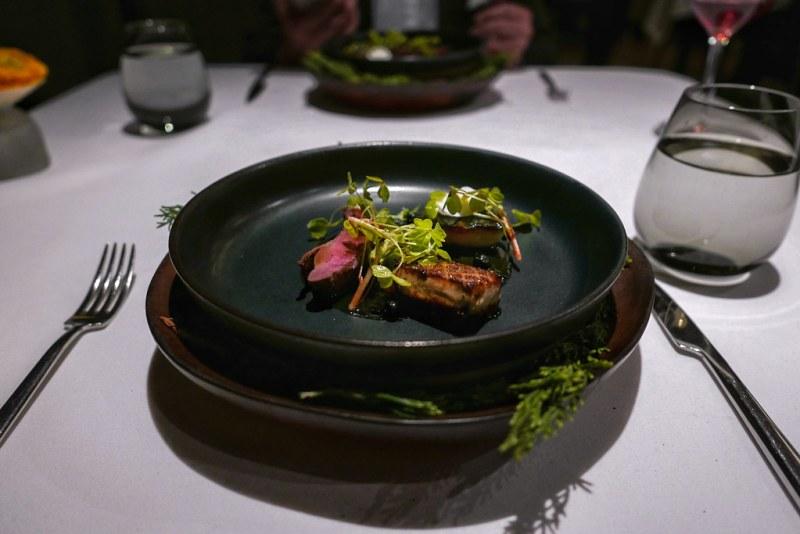 Squab, Hudson Valley foie gras, smoked black pepper, oxalis