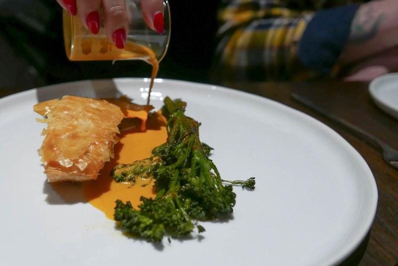 Crispy Seared Salmon, phyllo, broccolini, sambal butter ($27)