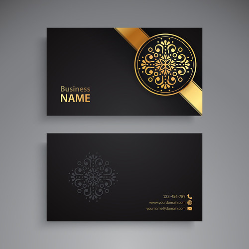 Business Card Business Card. Vintage decorative elements. Ornamental floral business cards or invitation with mandala