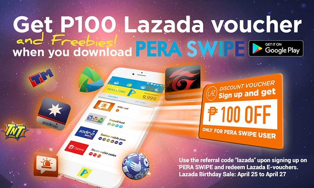 Pera Swipe users gets P100 discount from Lazada PH