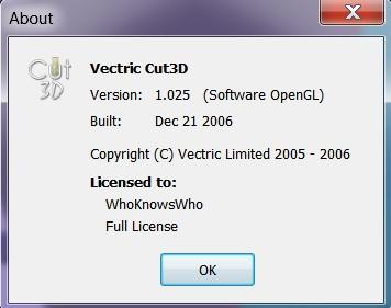 Working Vectric Cut3D 1.205 full license