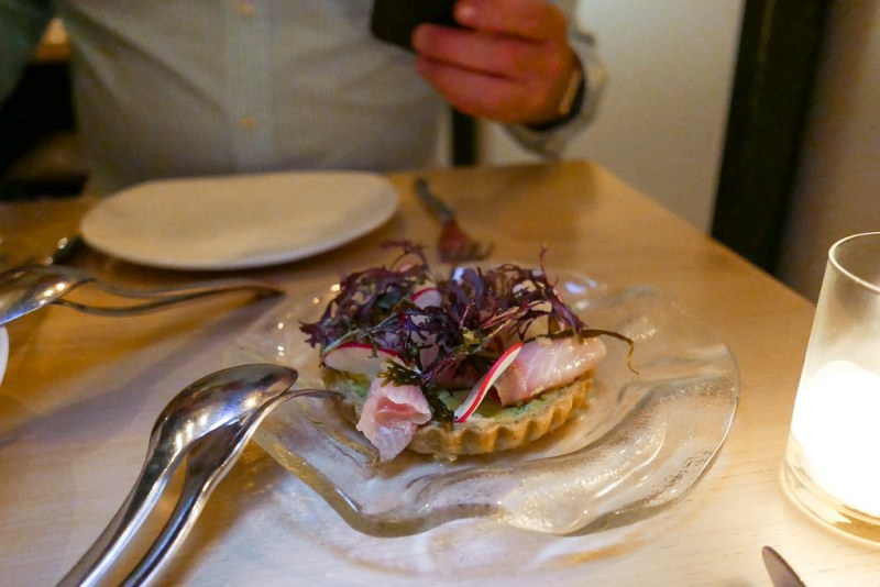 Amberjack Tart, seaweed crust, shaved radish, citron kosho, crushed fava bean, lemon aioli $19