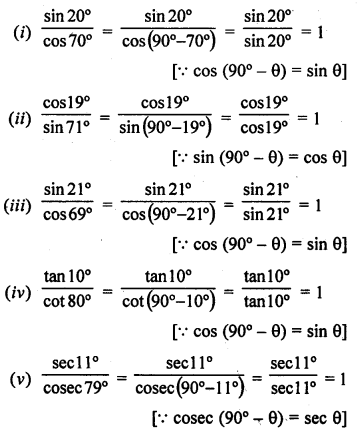 RD Sharma Class 10 Solutions Chapter 10 Trigonometric Ratios