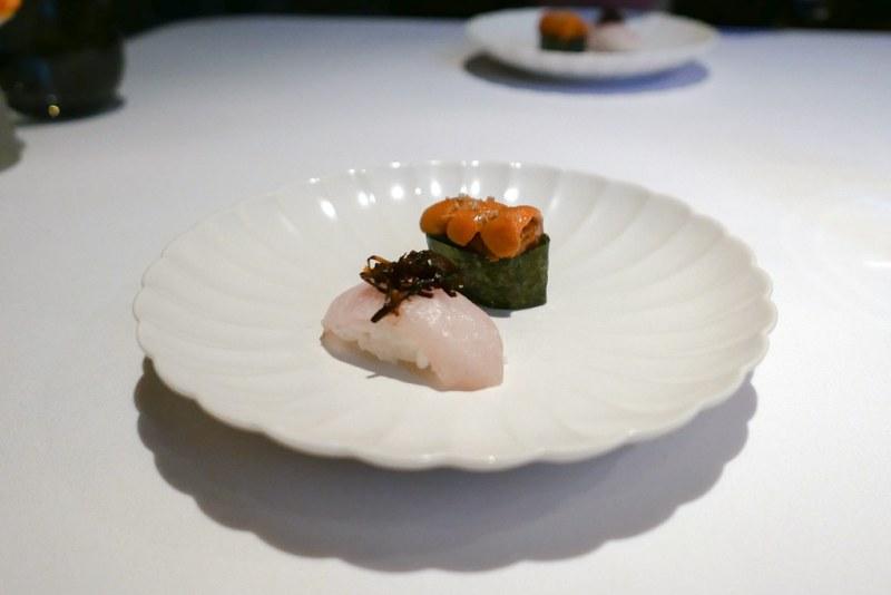 Santa Barbara Sea Urchin, nigiri with yuzu kosho, genmai, barrel-aged soy | Kampachi with shio kombu, Okinawan sea salt