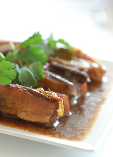 pork spare ribs braised with honey, soy & ginger.