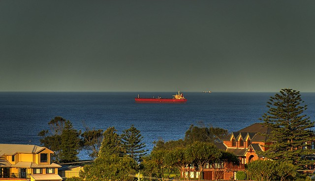 Ship passing by Terrigal coast