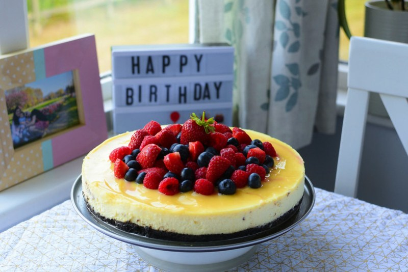 Lemon and White Chocolate Cheesecake with Summer berries