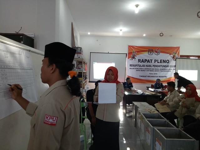 Suasana proses rekapitulasi surat suara di Kecamatan Tulungagung (29/6)