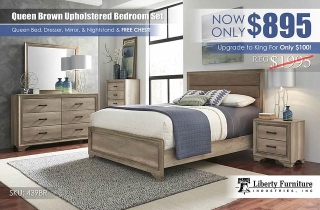 Queen Brown Tweed Upholstered Bedroom Set 439BR__KU