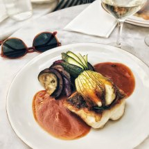 Café Caron - hake with ratatouille and stuffed courgette flower
