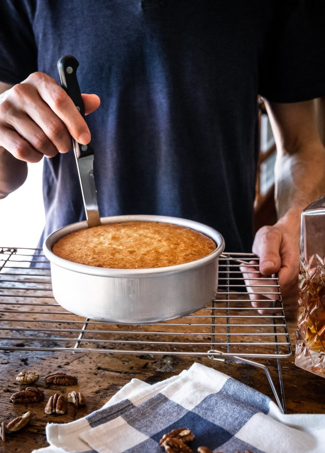 loosening the cake with a knife helps it slide out easily