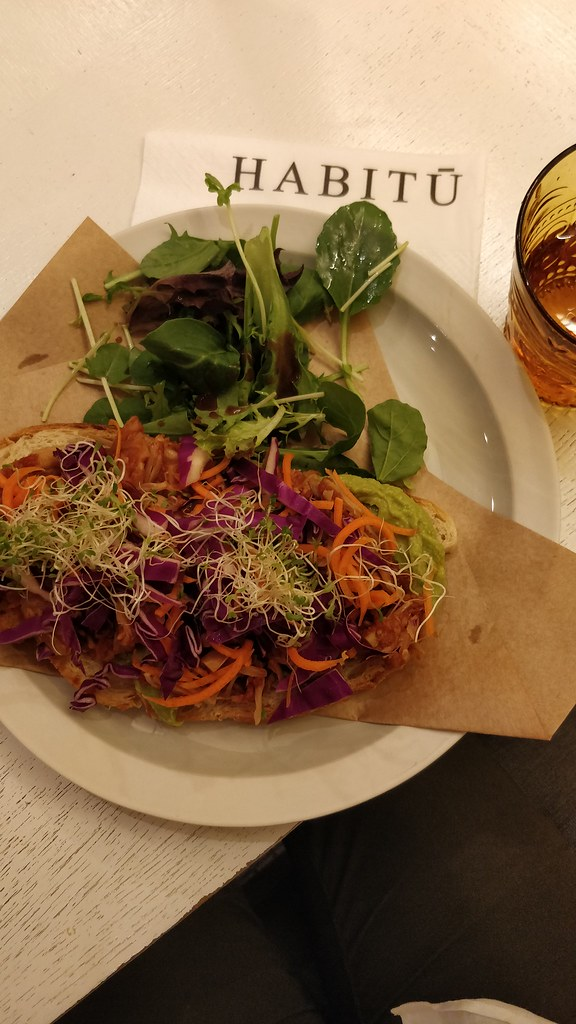 Open Face Vegan Pulled Jackfruit Avocado Sandwich Habitu Central Hong Kong