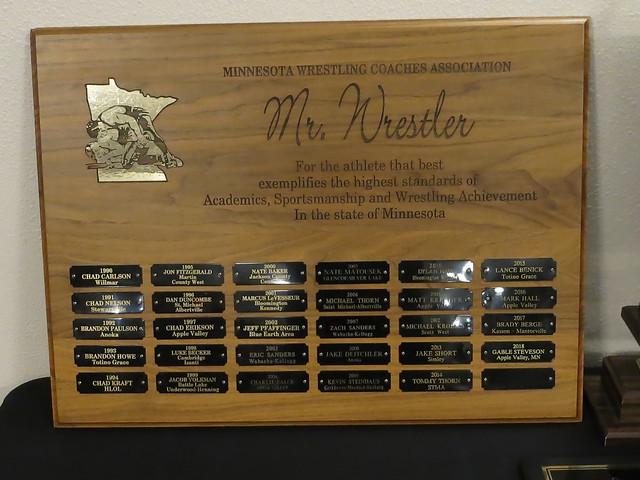 MWCA Mr. Minnesota Wrestler Traveling Plaque. 180428AJF0699