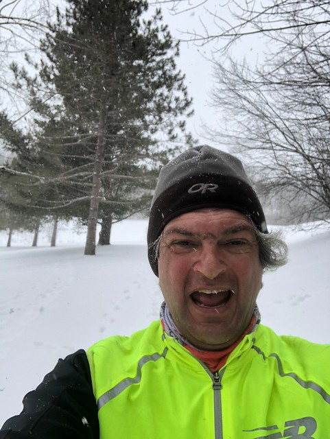 Owen Sound Pierre running in snow
