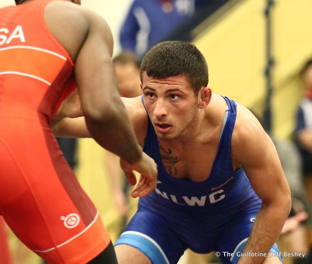 61kg: Nahshon Garrett (Sunkist Kids) vs Nico Megaludis (Nittany Lion WC). 180520AJF0033