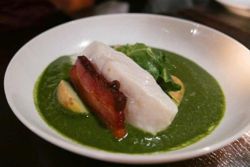 Braised Cornish Turbot, Watercress Sauce, Alsace Bacon ($40)