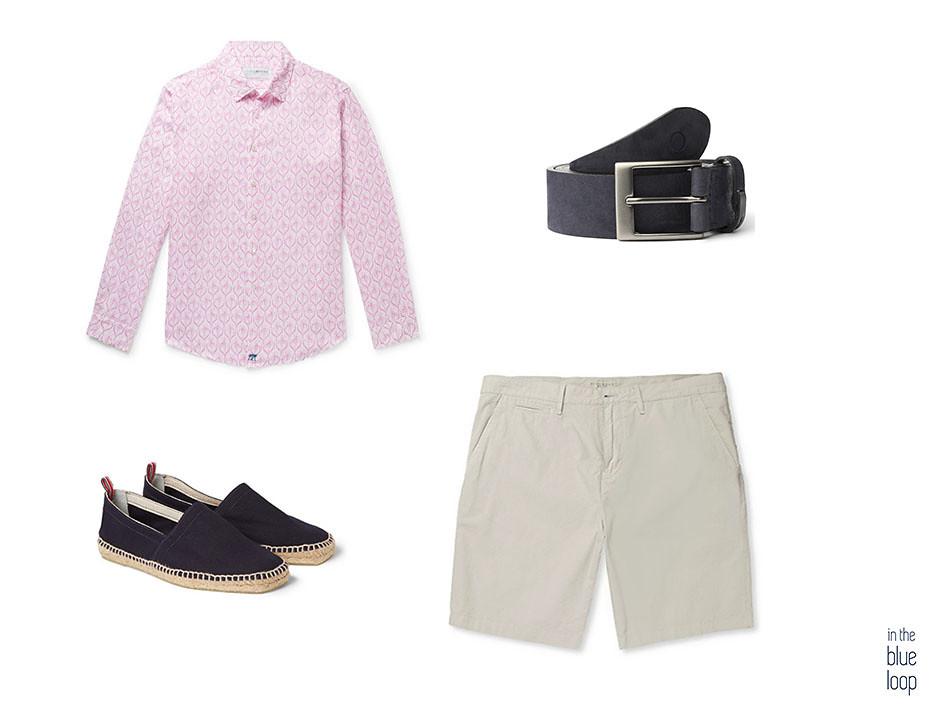 3 looks masculinos para el verano en este look casual combinamos shorts o pantalones cortos, camisa, cinturón igara para hombre y alpargatas