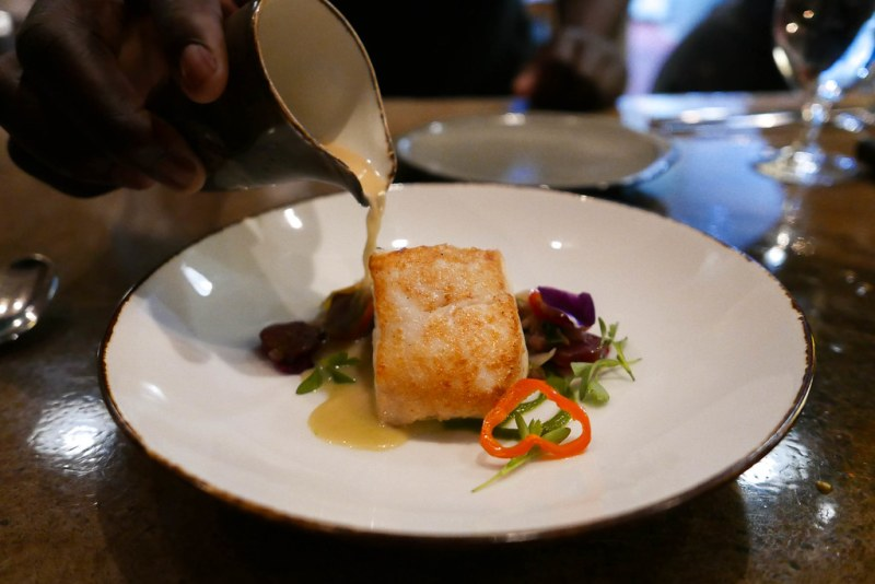 Halibut, Chinese sausage, ramps, endive, coconut broth ($35)