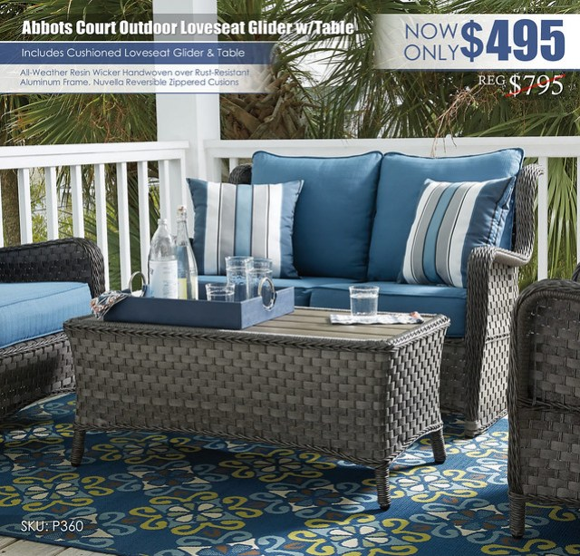 Abbots Court Glider Loveseat & Table_P360