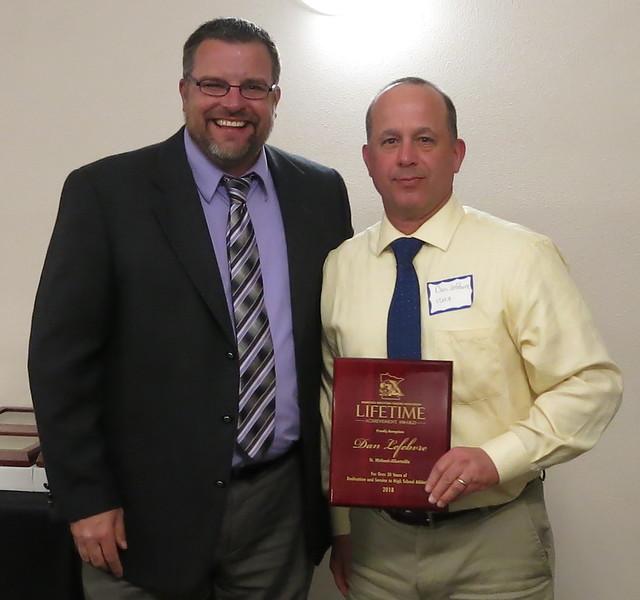 Kip Lynk and Lifetime Achievement Award recipient Dan Lefebvre of St. Michael-Albertville. 180428AJF0717