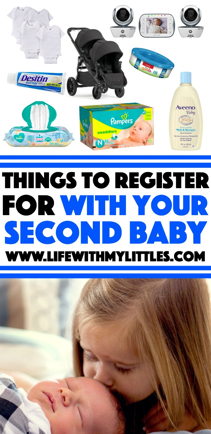 Not sure what things to register for with your second baby? Check out this helpful list! Great suggestions for second-time moms!
