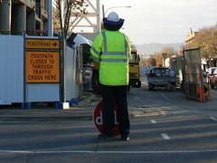 Stop. Footpath. Pedestrians.