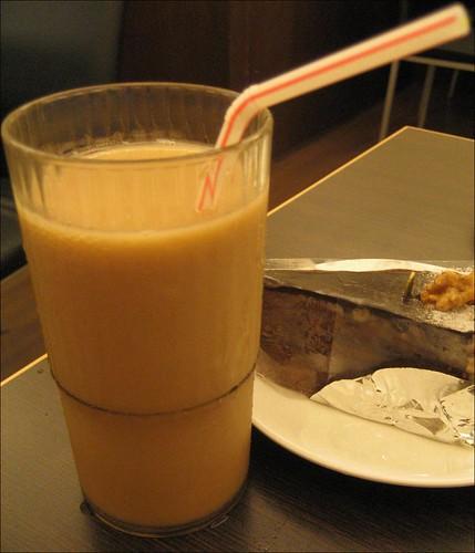 milk tea and chocolate cake
