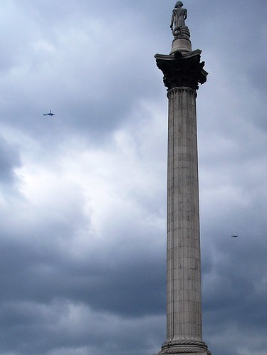 Nelsons Column with Helicopter and Plane