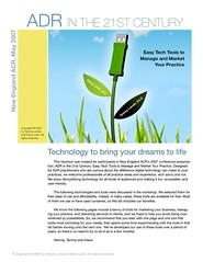 Easy tech tools to manage and market your mediation practice by Tammy Lenski and Diane Levin