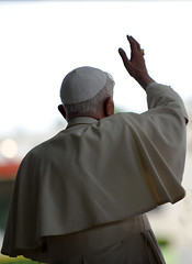 Pope Benedict XVI prays in front of the image ...