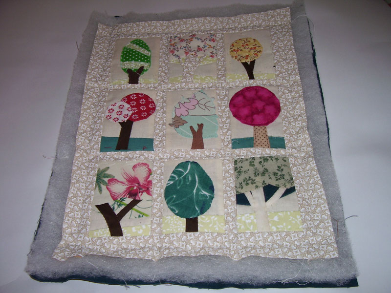 Mini tree quilt, basted