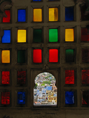 Looking through Udaipur Palace's stained glass windows
