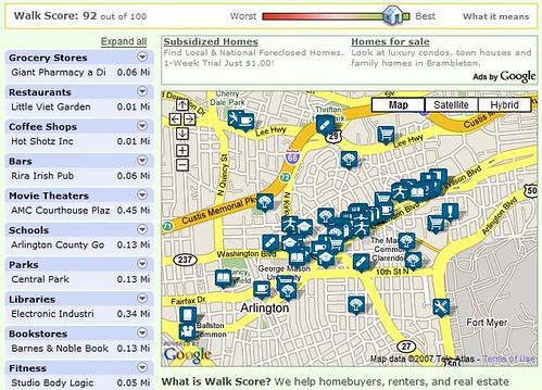Walk Score map of Clarendon