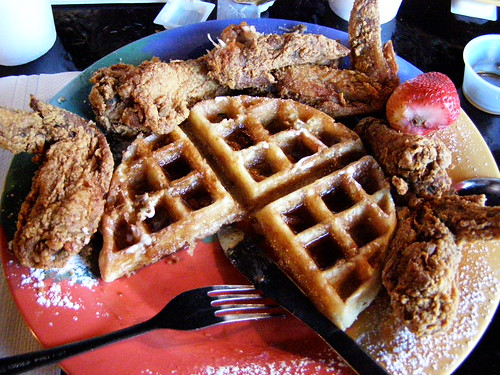 Breakfast Klubs waffle & fried chicken. I had to stick to Texas toast.
