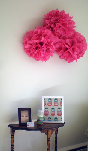pink tissue paper poms and decor