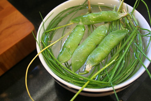 shelling peas and chives