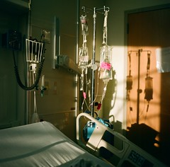 chemo (super ape) Tags: sunset shadow tlr rollei hospital bed buffalo cancer upstateny drip vb iv gossen leukemia wny expiredfilm chemo rolleicord fujinps160 explored roswellparkcancerinstitute rpci lunapro chemothearapy thephotographicdictionary