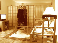 Visiting with DrP when I first arrived in NYC. (Futon is on the right.)