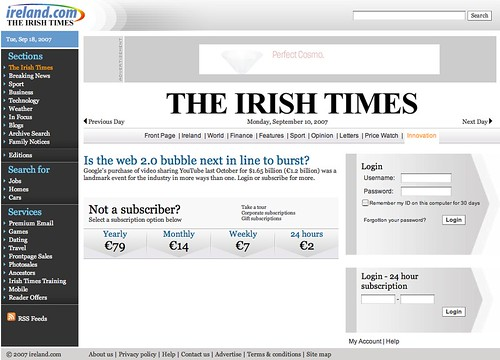 Irish Times subscription page